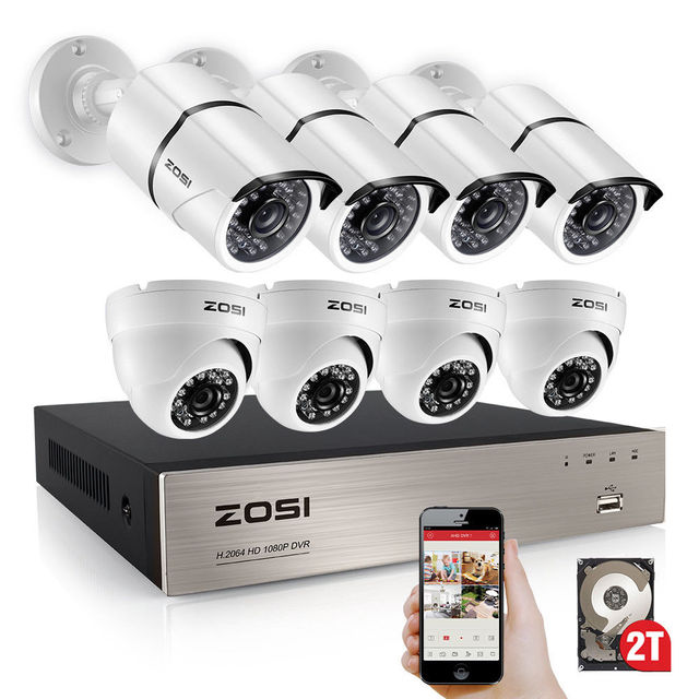ZOSI 8CH Full 1080P HD TVI Surveillance DVR System,8pcs 1980TVL Weatherproof Indoor/Outdoor Security Cameras with Night Vision