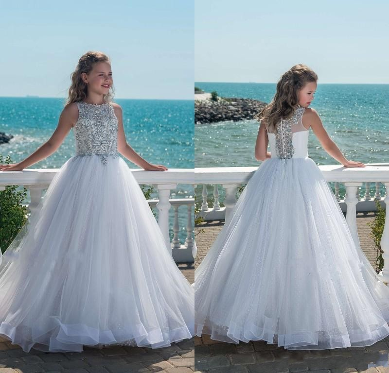 Glitz Beaded Crystal White   Girls   Pageant   Dresses   2019 Tulle Child Birthday Party Gowns   Flower     Girl     Dresses   First Communion Gown
