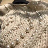 Женские свитера и пуловеры, элегантные женские свитера, удивительный украшенный жемчугом вязаный свитер, зимняя теплая одежда pull femme