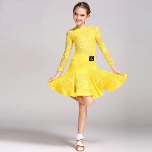 Image 1 - Mid 長袖レースメッシュ Mordern 社交ダンスドレス子供のためのセクシーなサルサタンゴスカート子供ラテンダンスのためのドレス女の子