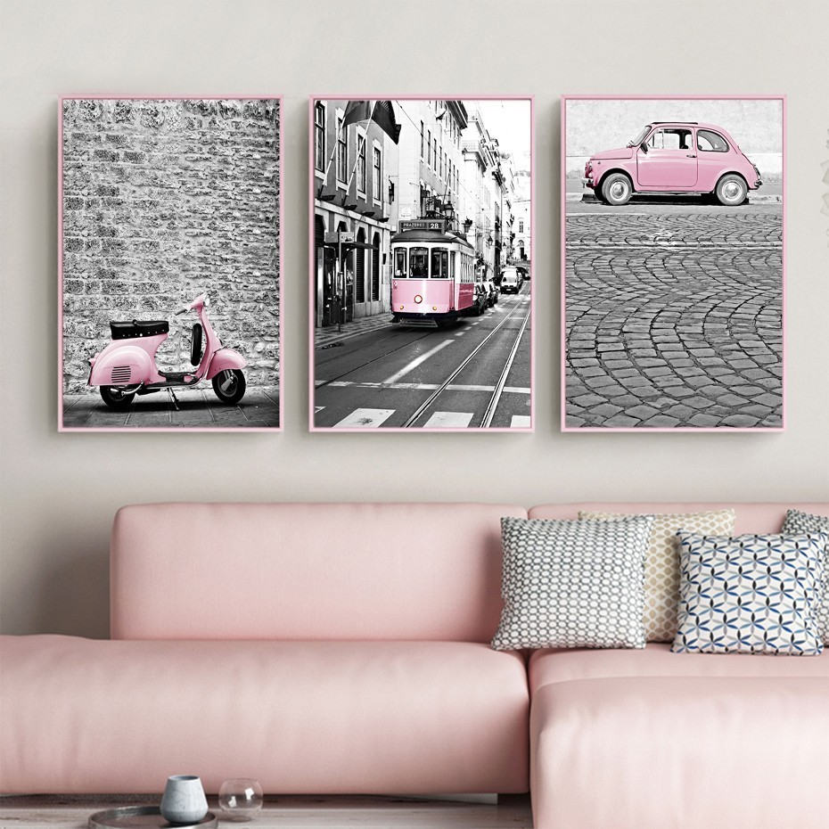 SURE LIFE Modern City Landscape Pink Car Bus Poster Canvas Printings Wall Art Paintings Pictures Living Room Home Decorations