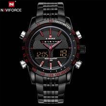 NAVIFORCE D'origine Marque De Luxe En Acier Inoxydable Quartz Montre Hommes Numérique LED Horloge Militaire Sport Montre-Bracelet relogio masculino