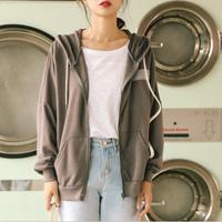 2018 New Winter Hooded Loose Long Sleeved Women Leisure Sweater Coat Solid Dark Grey Khaki Casual