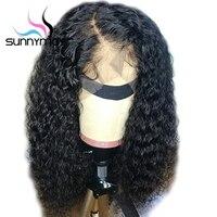 Sunnymay 180% вьющиеся человеческие волосы парик предварительно сорвал 13X6 синтетические волосы на кружеве человеческие волосы Искусственные па