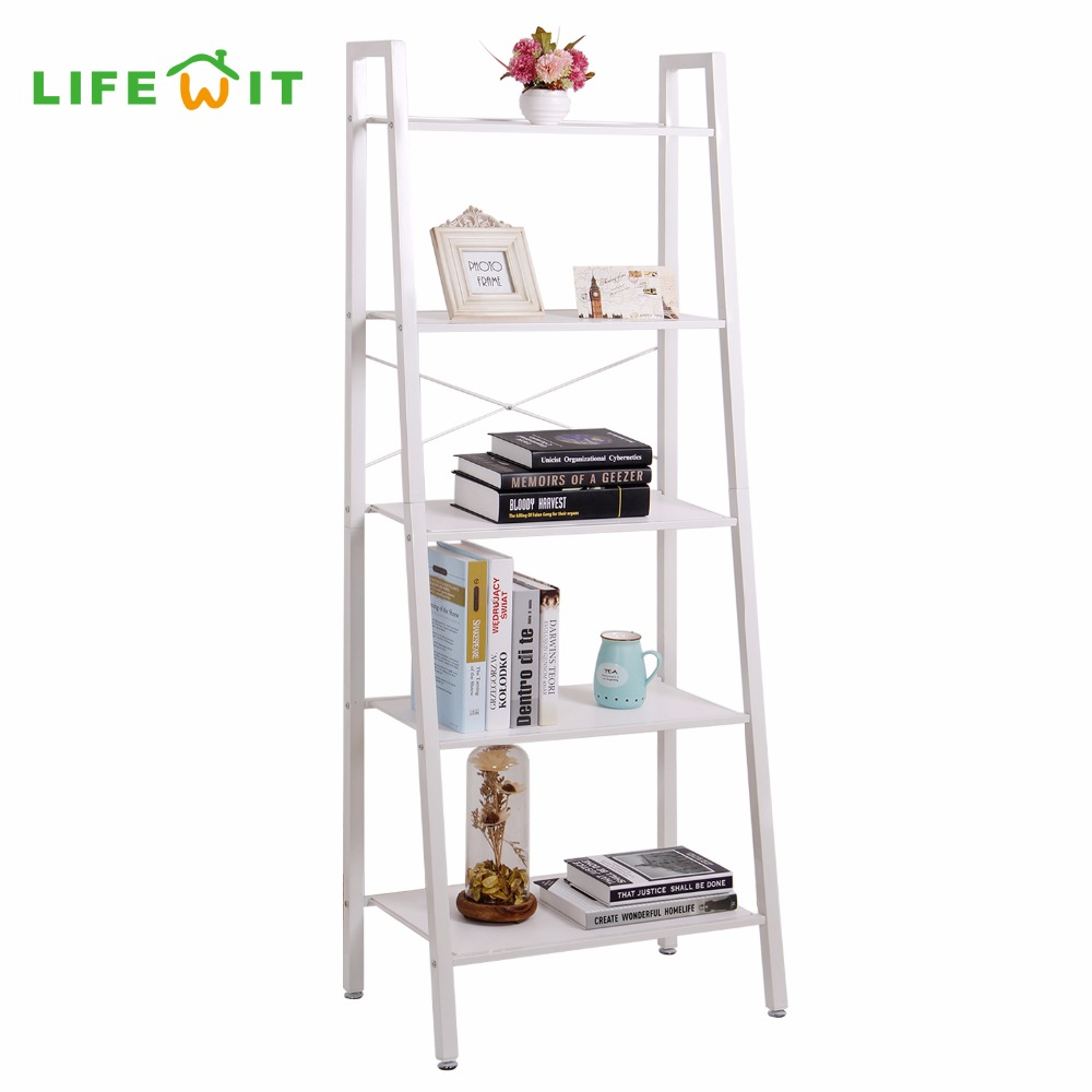 Lifewit 5 tier Shelves Ladder Bookcase Storage and Display Standing Shelving Unit for Bedroom Kitchen Gaarage Holders Racks information processing for effective storage and retrieval