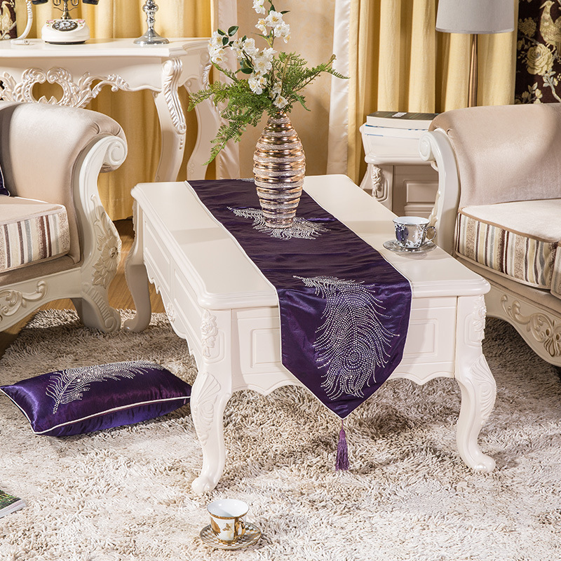 2016 New Table Runner Simplicity Europe Of Type Style Purple Feather Runner  Christmas Printed Polyester Glitter Stone In Table Runners From Home U0026  Garden On ...