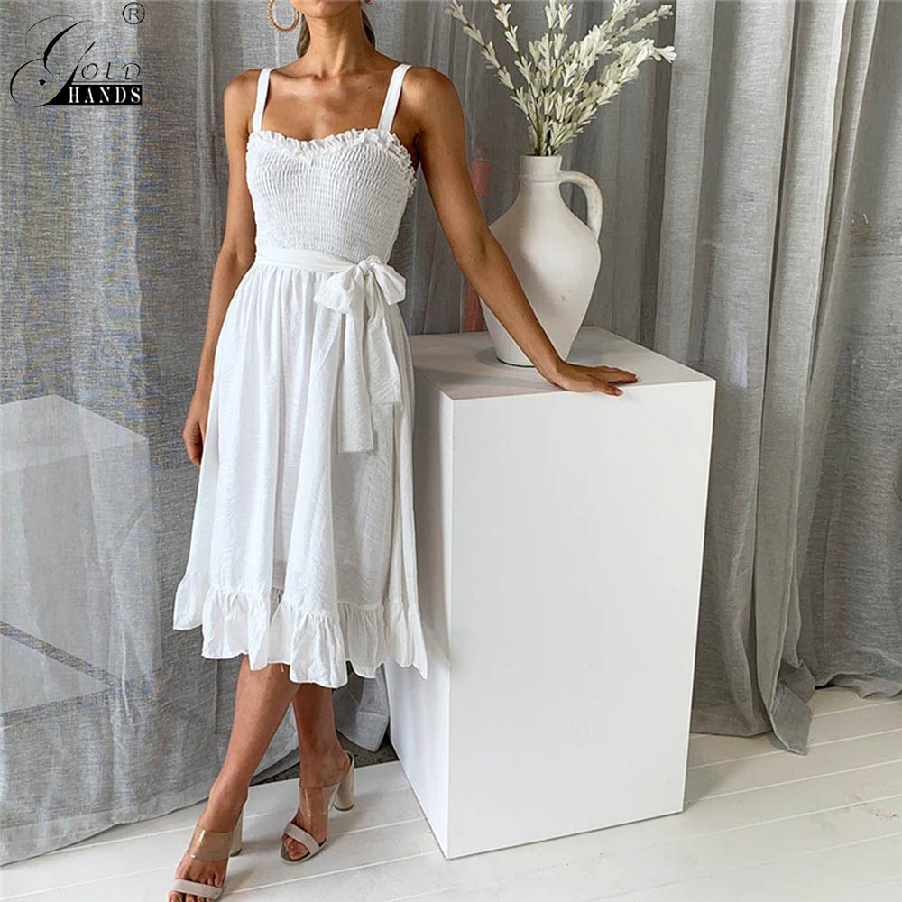 Gold Hands Summer Dresses Sexy Casual Female Pink Vestidos Sleeveless Ruffle Elegant Dress Women Ruched Sashes Bow Long Cotton