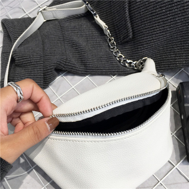 Chain PU Leather Waist Bag  3