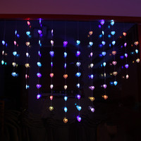 2X1.5M LED Window Curtain String Lights 78 Leds AC220V Heart shape Romantic Fairy decoration for Wedding,Party,Holiday,Christmas