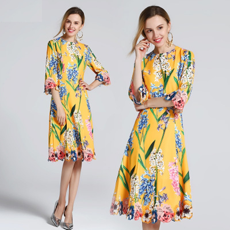 elegant Spring Embroidery dress A Line 2019 new Superior quality half sleeves dresses women lady office