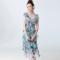 100% Silk Dress Brisk Print Ruffles Decoration V Neck Sleeveless Top Grade Fabric Cute Style Summer New Fashion 2017
