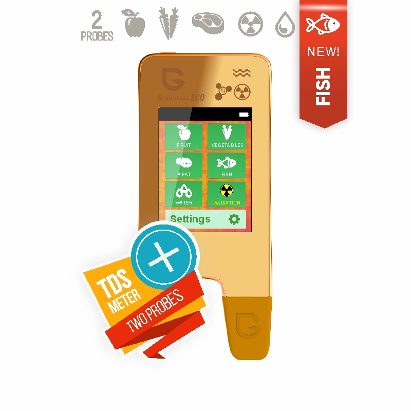 GREENTEST ECO 5F GOLD! High Accuracy Food, Meat, Fish Nitrate Tester, water TDS, Radiation Detector/ Health Care
