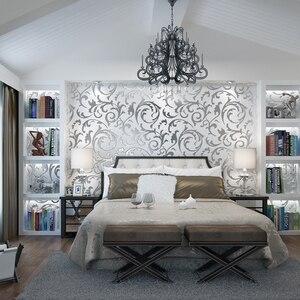 Image 4 - Роскошные Дамасские золотые и серебряные обои для стен 3 D нетканые обои для гостиной и спальни фоновые декорации обои