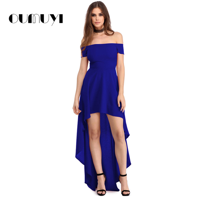 86d431d73 OUMUYI Vestido de Partido Atractivo de 2017 Mujeres Del Verano Azul Alto  Bajo dobladillo Del Vestido