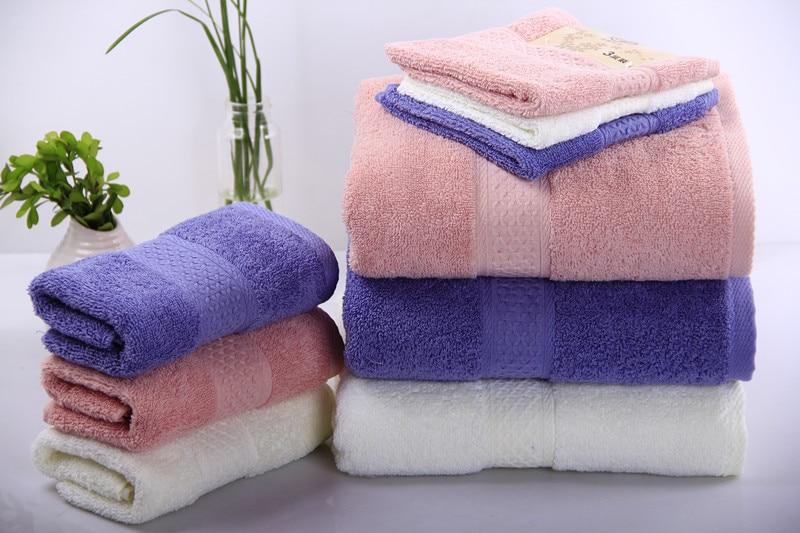 3pcs Solid Soft Cotton towel set Bath Towel Serviette de bain Adulte Large Beach Towels Home Hotel Bathroom hand face towels