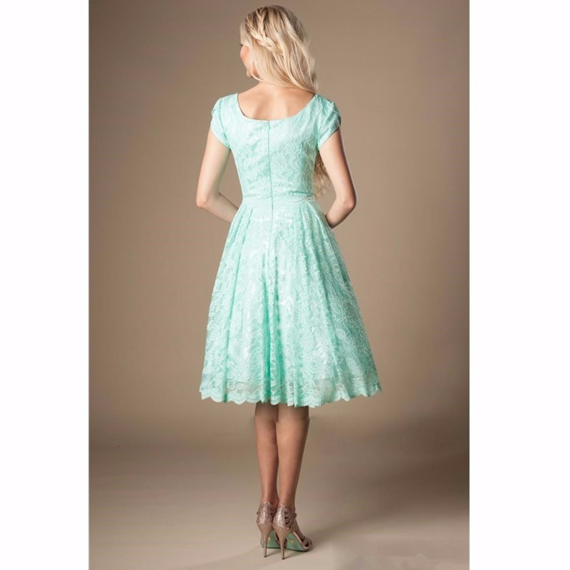 Mint Lace Short Sleeves A Line Knee Length Bridesmaid Dress 2