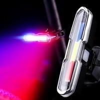 USB 충전 LED 경고 구피 밸리 조명 산악 자전거 안전 미등 밤 빨간색과 파란색 빛 자전거 액세서리