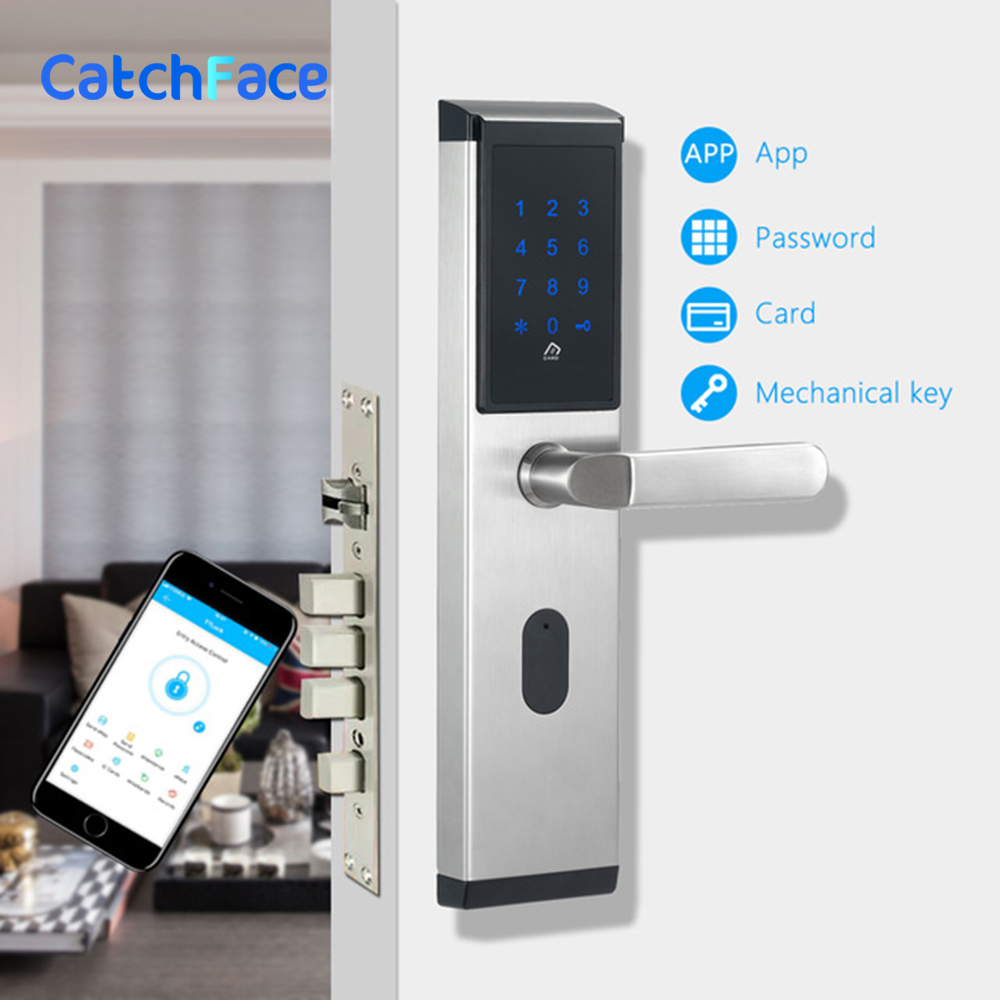 Smart Electronic Door Lock,Cylinder Lockset Entrance Lock, Code APP Key Touch Screen Digital Deadbolt For Home, Hotel ,Apartmen