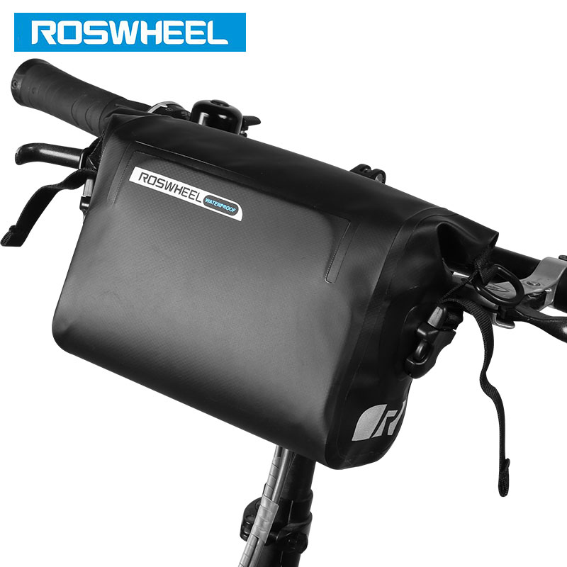 ROSWHEEL Cycling Handlebar Bag DRY 3L Bike Bicycle Front Basket PVC Full Waterproof Bags Bike Accessories Cycle Pannier Pouch roswheel 1 8l cycling front tube pannier 5 5 5 inch double bag pouch