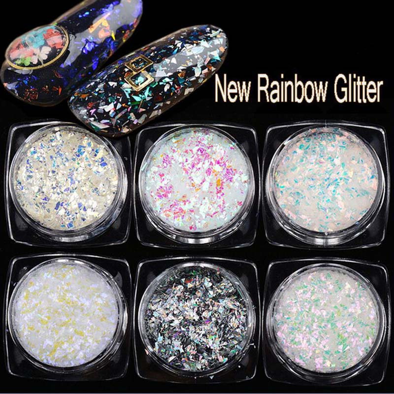 6 boxes/Lot Rainbow Nail Sequins Glitter Holographic Powder Dazzling Art Flakes For DIY Glitters 2g