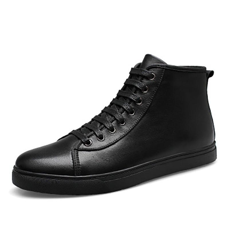 Casual 2018 647 Hommes Automne 48 Cuir Bottes Fur Taille Hiver Véritable En Ww Cheville Mode Chaussures Grande 37 black Plus Masorini Homme ywc4qdpA0w