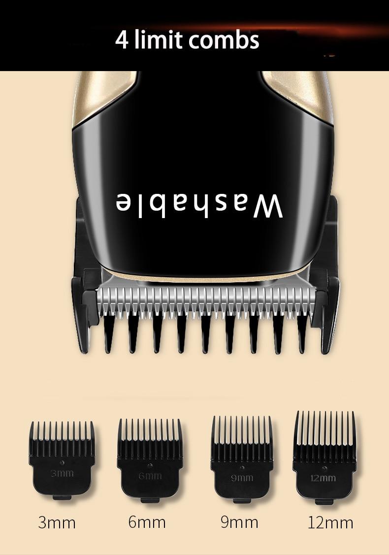 Kemei máquina de cortar cabelo lavável elétrica