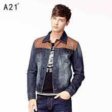 2015 Hot New Spring Autumn Men Denim Coat Jacket Casual Parkas outerwear Cotton Slim Short Plus Size XL Brand High Splice