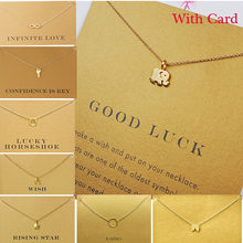 Sparkling good lucky Heart Anchor Hexagram Gold Alloy Clavicle Chain Pendant Necklaces New Fashion Jewelry For Women (Have Card)