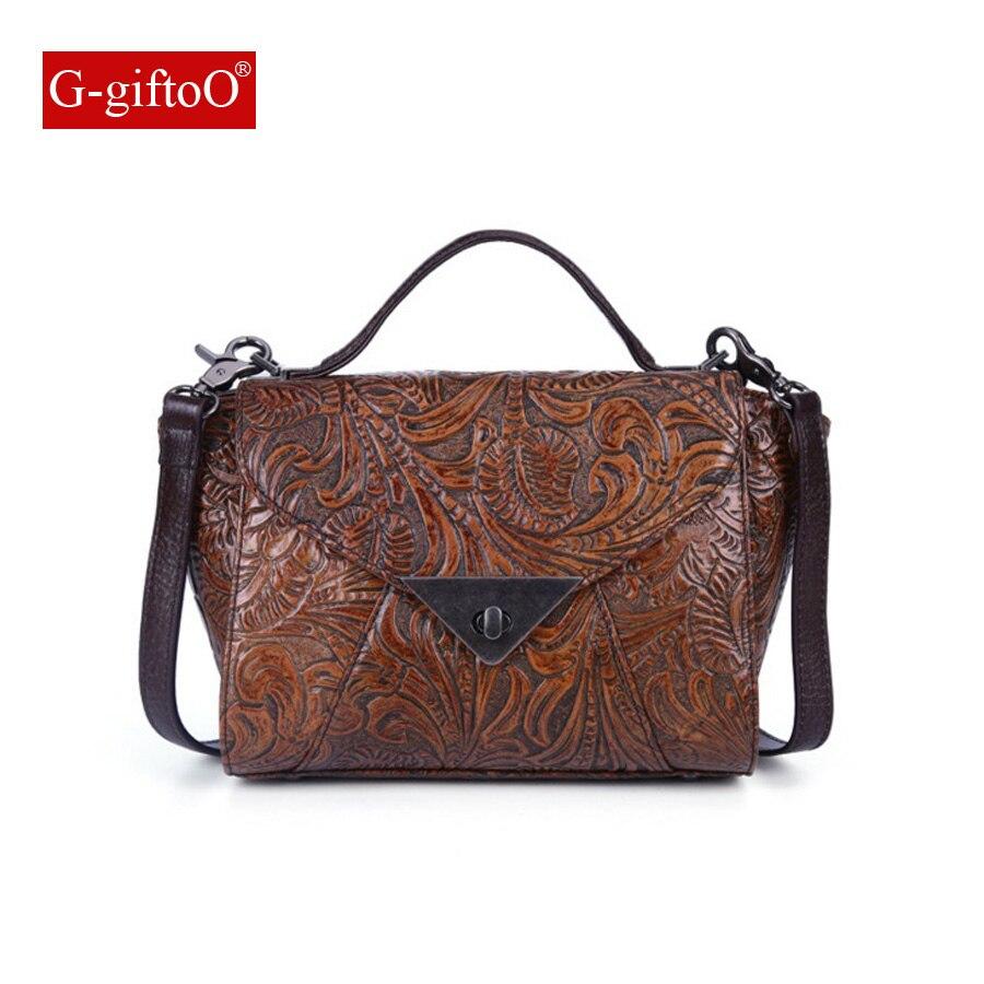 Brands Vintage Women Bags Messenger Bag Genuine Leather Female Embossed Flower Bag Small Women Shoulder Bag все цены