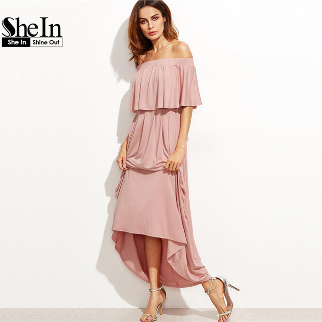 SheIn Pink Long Dresses Off the Shoulder Autumn Dresses Women Elegant Ladies Half Sleeve Layered Ruffle A Line Dress