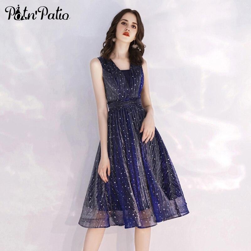 Sexy Open V-back Navy Blue Shiny   Cocktail     Dresses   Elegant Shoulder Straps A-line Sequined Short Semi Formal   Dresses   For Women