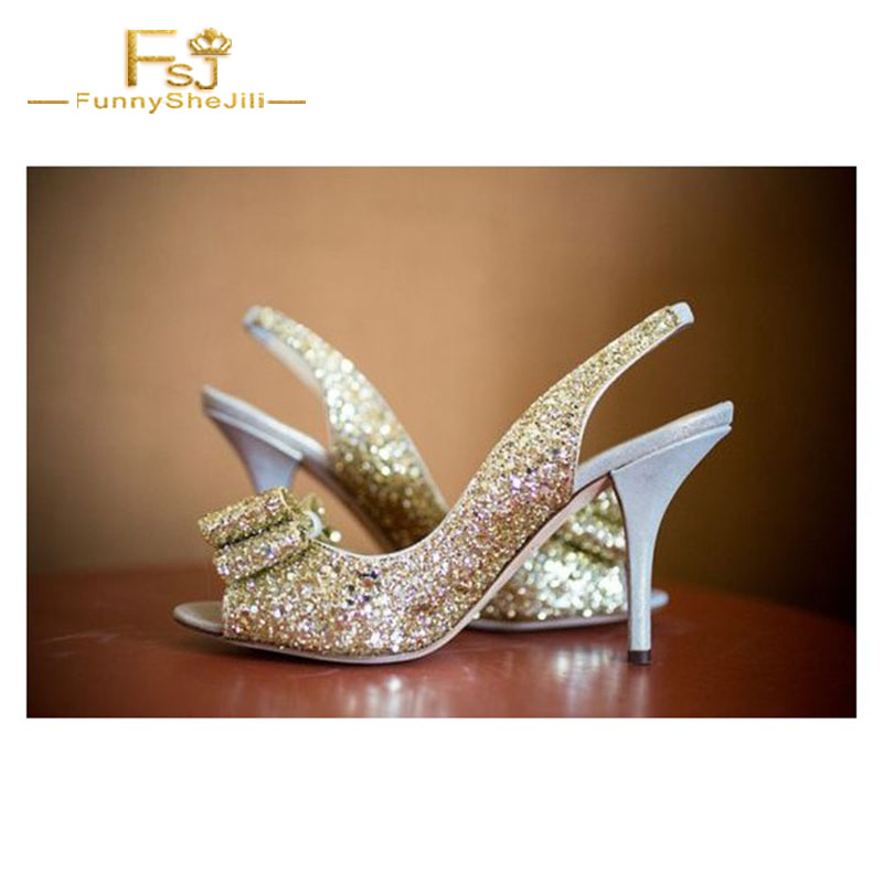 FSJ Women Shoes Ladies Pumps Champagne Wedding Heels Slingback Glitter  Bridesmaid 2108 Spring Autumn Big Size Shoes41 42 43-in Women s Pumps from  Shoes on ... ce11f04c5e13