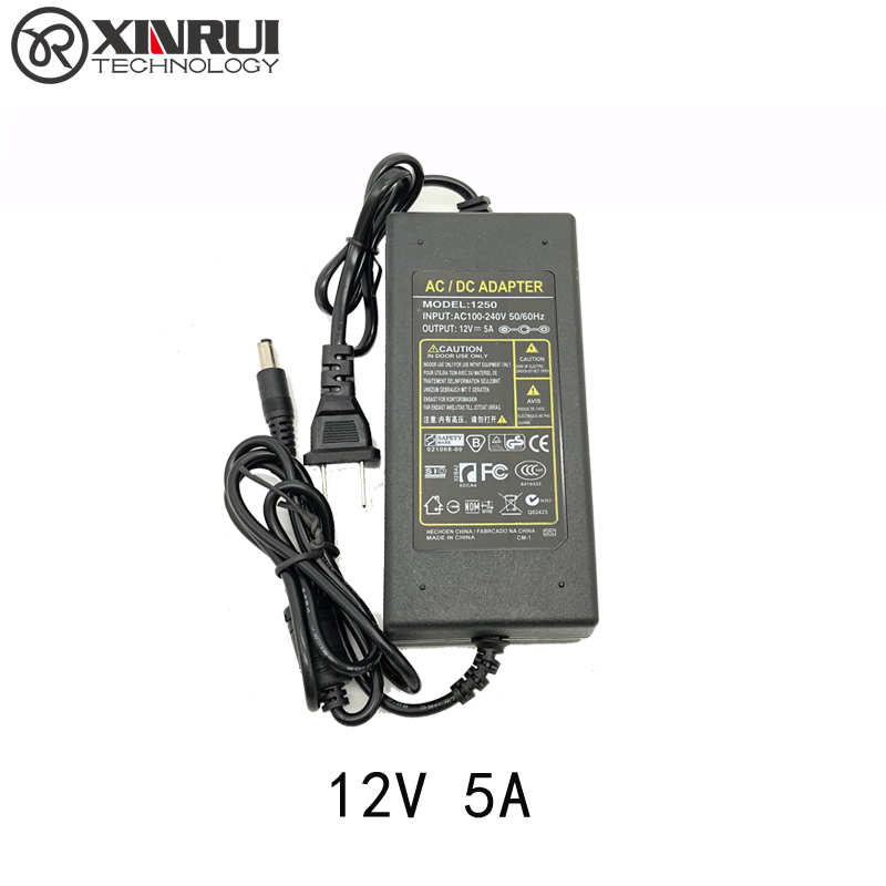 AC/DC Adapter 100-240V Converter Adapter DC 5.5 X 2.5MM 12V 5A 5000mA Charger EU Conversation Plug Power Supply
