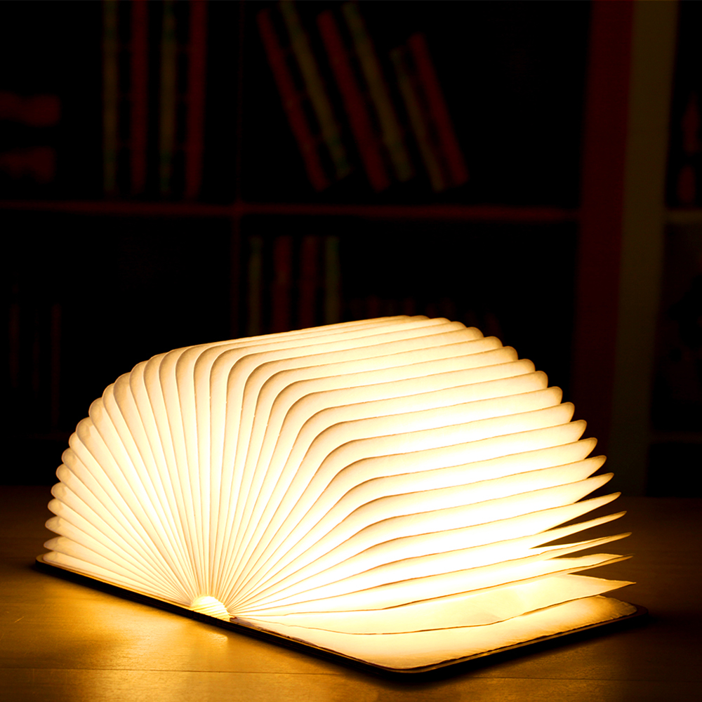 Rechargeable Folding Book Light Wooden Light Book Lamp Led Folding Wooden Book Figurines Bedroom Valentines Day Decoration Craft (1)