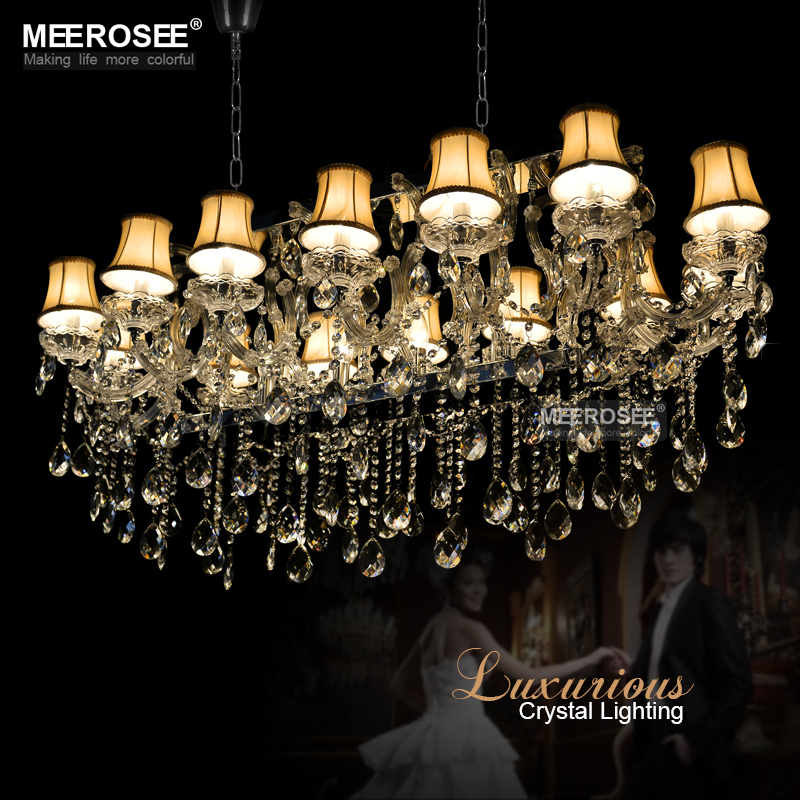 Hotel Maria Theresa Lights Authentic Cristal Pendants Rectangle Crystal Chandelier Lamp Foyer Lusters for Dining Room 18 lights