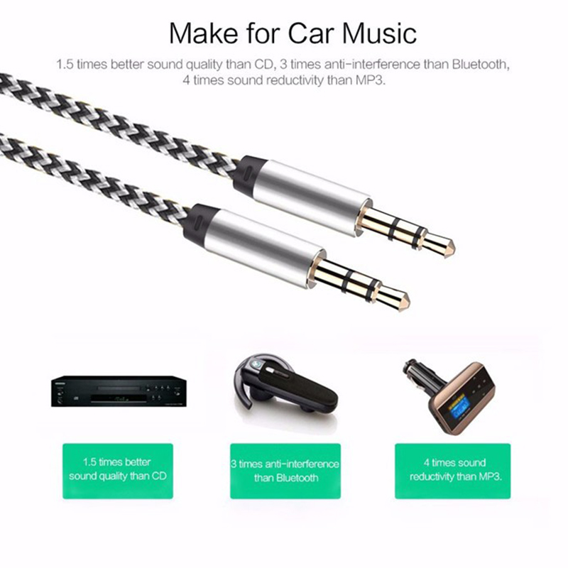 1m 2m 3m Nylon Jack Aux Cable 3.5 Mm To 3.5mm Audio Cable Male To Male Kabel Gold Plug Car Aux Cord For Iphone Samsung Xiaomi