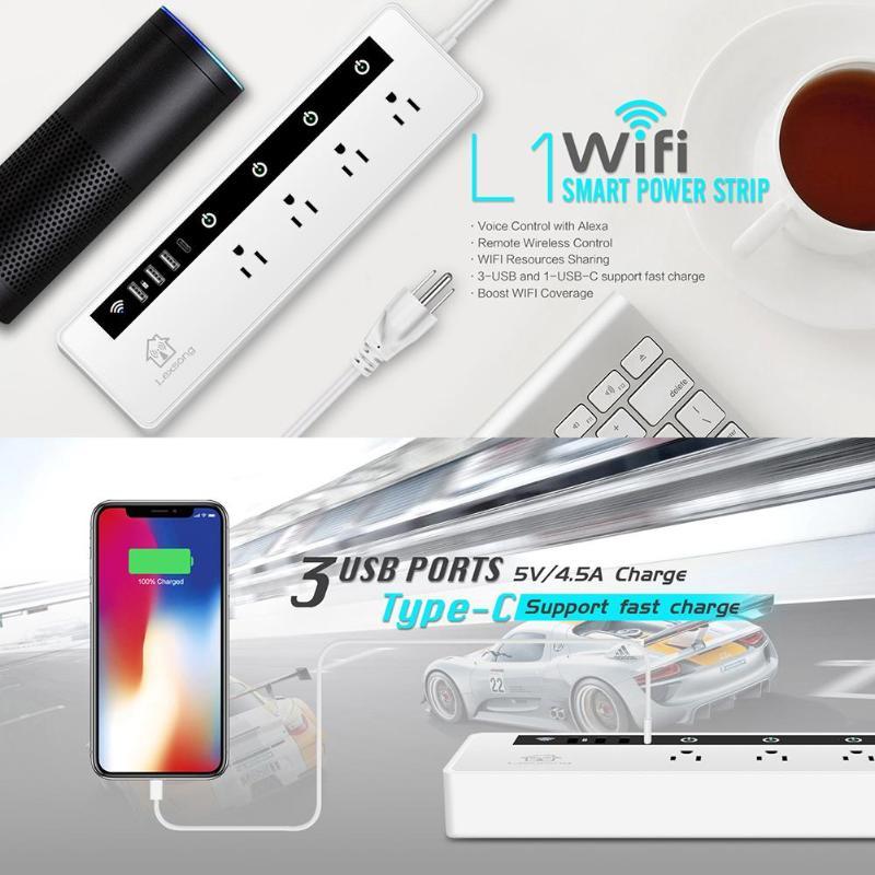 ALLOYSEED US Plug Wireless WIFI Smart Socket 4 Ports 3xUSB 1xType C Output APP Remote Control Timing Power Strip Switch