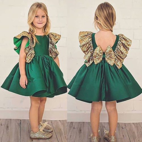 2018 Lovely Baby Girl Princess Dress Girls Back Sequins Bow Fly Sleeve Wedding Dress Party Tutu Dress Kids Toddler Clothes 1-6Y
