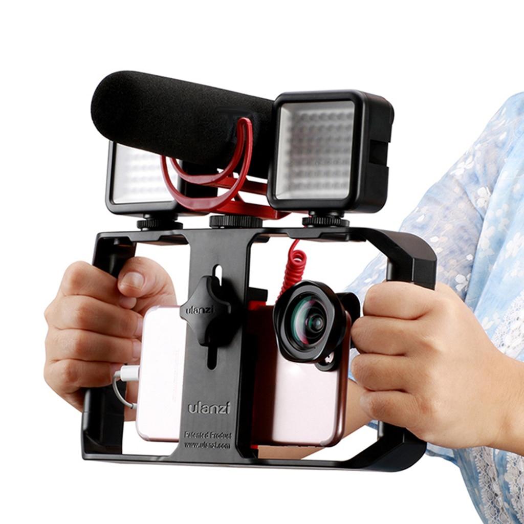U-Rig Pro Smartphone Video Rig w 3 Shoe Mounts Filmmaking Case Handheld Stabilizer Grip with 2 x Fill Led Light ulanzi smartphone video handle rig filmmaking stabilizer case rig for movie youtube video led light