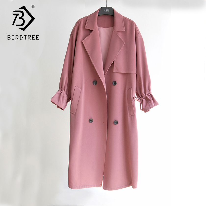 Women's 2018 New Solid   Trench   Full Sleeve Turn-down Collar Solid Single Breasted Korean Style Loose Pockets Outerwear C87917LD