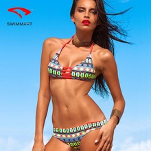 цена SWIMMART bikini gathered print multi-line swimsuit swimwear women high waist bikini bathing suit women swimming suit push up онлайн в 2017 году