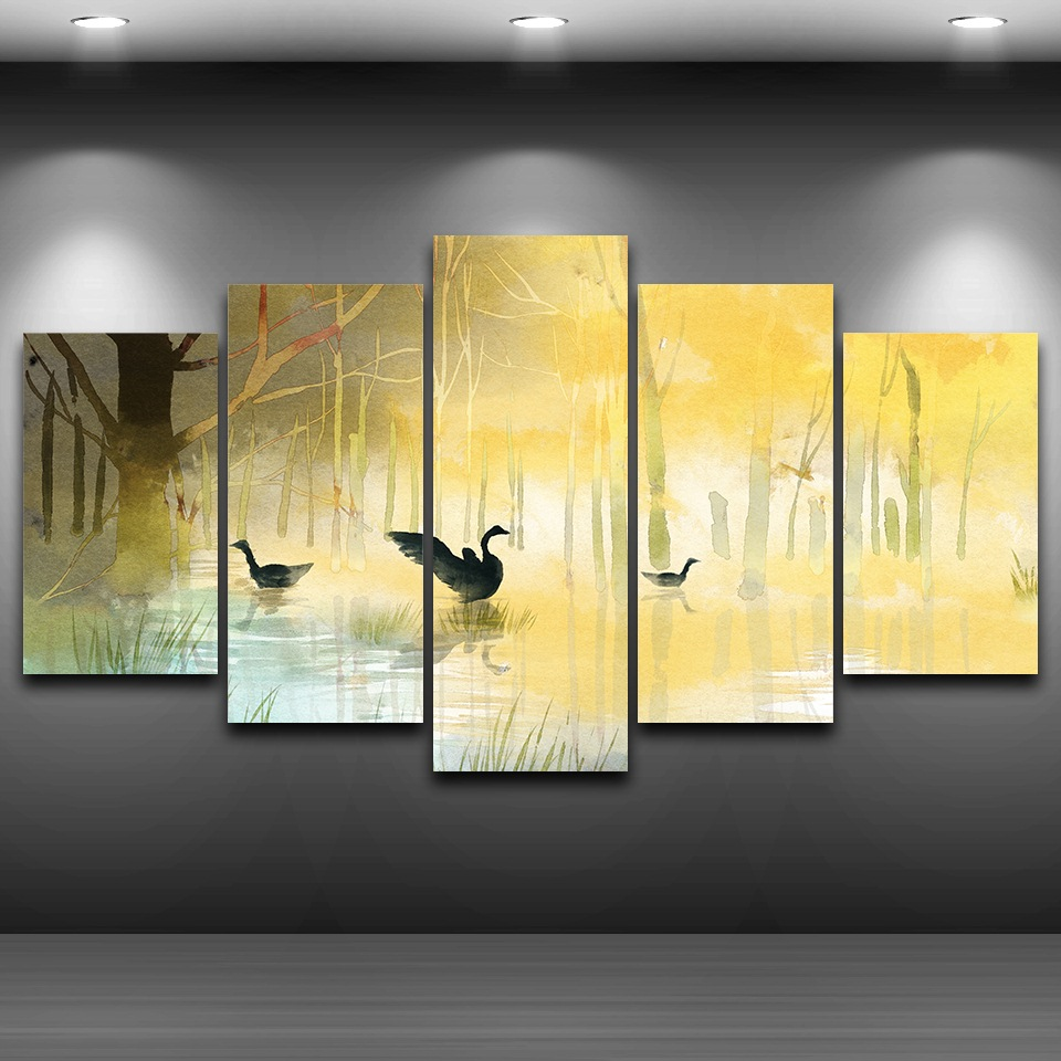 Canvas Pictures Wall Art Home Decor 5 Pieces Black Swans Lake In The ...