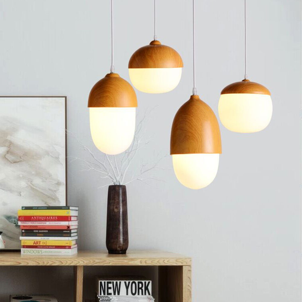 купить Nordic Pendant Lights modern minimalist lamp restaurant creative personality coffee bar nuts wood grain glass droplight CL MZ14 онлайн