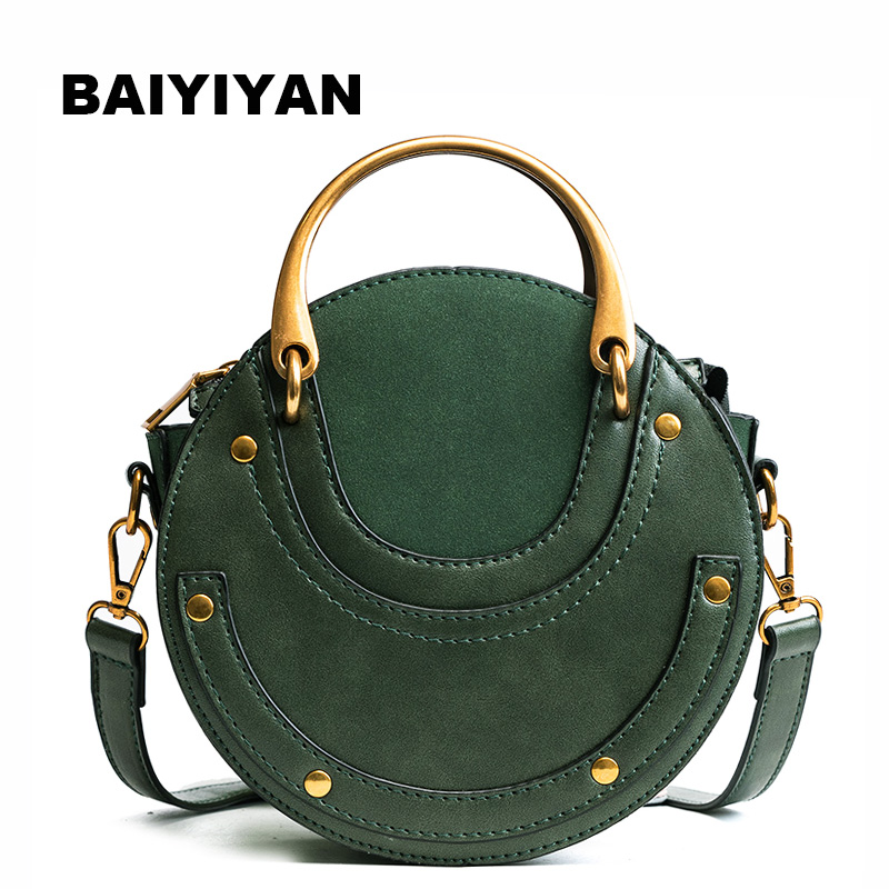 Fashion High Quality PU Leather Handbag Mini Shoulder Crossbody Bag Small Round Package Women's Tote Bag
