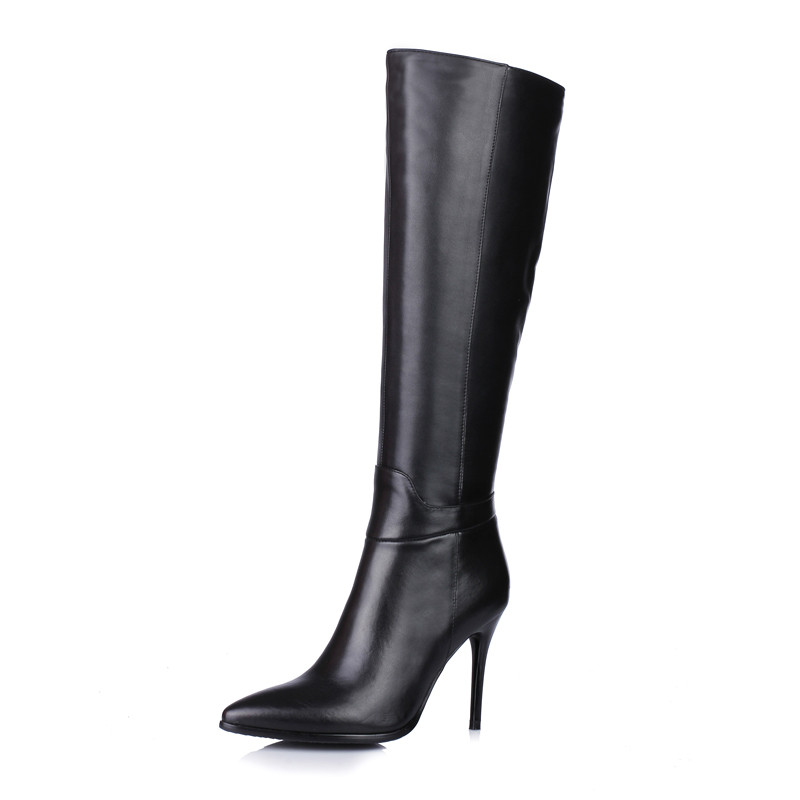 Sexy Lapolaka Genou Cuir Talons Partie Mince En Femmes Bottes Femme Haute Noir 2018 Gros Chaussures Véritable r8xFwr7q