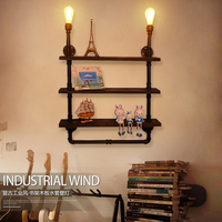 industrial personalized water pipe bookshelf wall lamp vintage wood wooden decoration lamp water pipe wall lamp