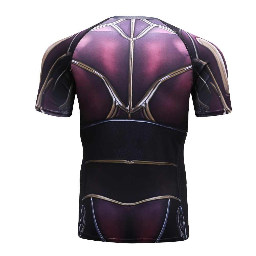 Kompresi Kemeja Marvel Superhero Cross Kebugaran Celana Ketat 3D Cetak T-shirt Pria Homme Cosplay Pria K Berlaku Binaraga Tops