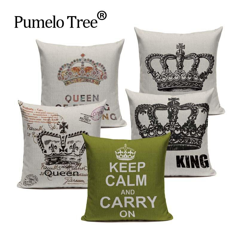 Retro Home Decorative Cotton Linen Blended Cushion Cover Crown Black White Green Throw Pillow Case King Queen Letter Pillowcase