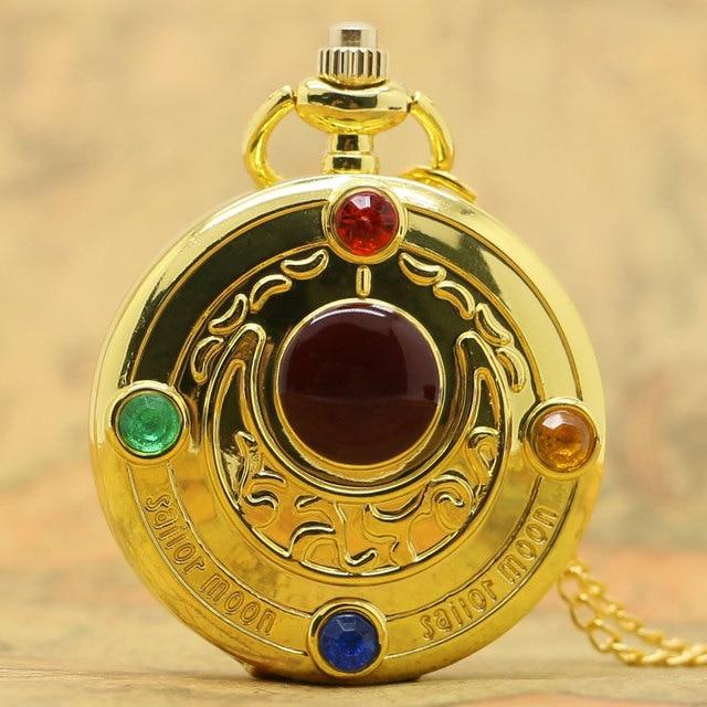 New Full Hunter Golden Sailor Moon Quartz Pocket Watch Chain Necklace Womens Gifts