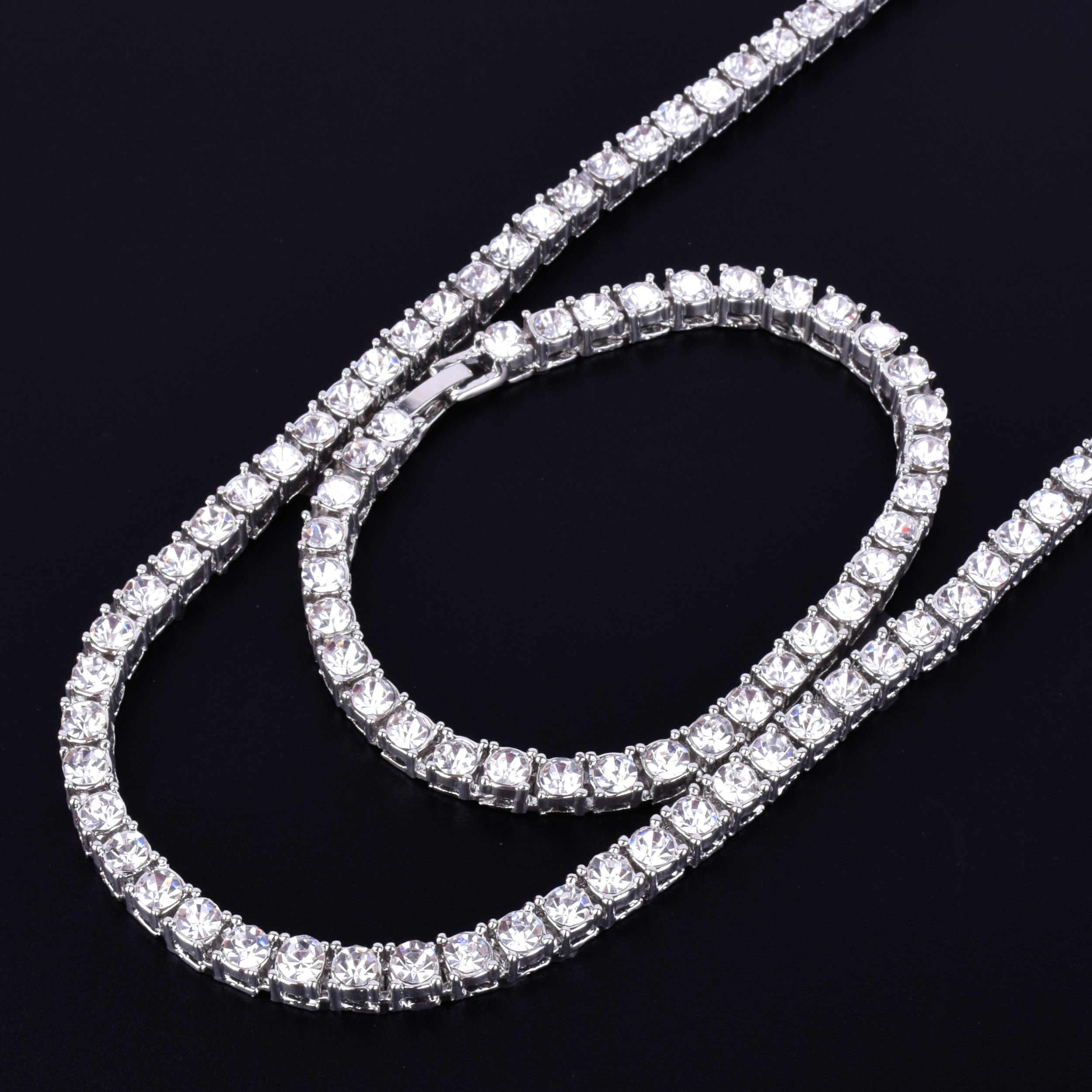 """1 fila 5 millimetri Tennis Necklace & Bracelet Set di Colore Dell'oro Del Rhinestone Della Catena Del Choker degli uomini Hip hop di Strada Roccia dei monili di 16 """"18"""""""